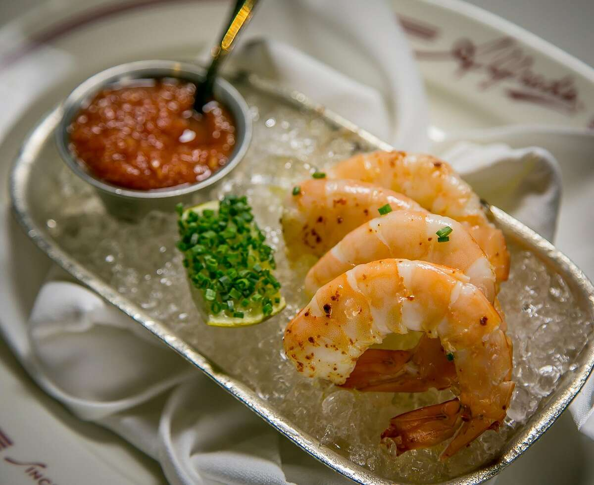 The chilled Gulf Prawns at Alfred's Steakhouse in San Francisco, Calif., are seen on April 7th, 2016.