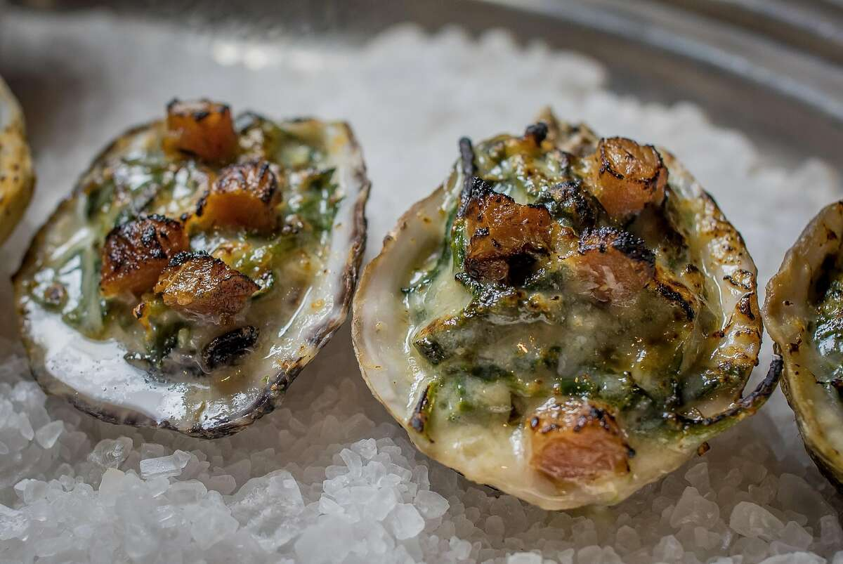 Oysters Rockefeller at Alfred's Steakhouse in San Francisco, Calif., are seen on April 7th, 2016.