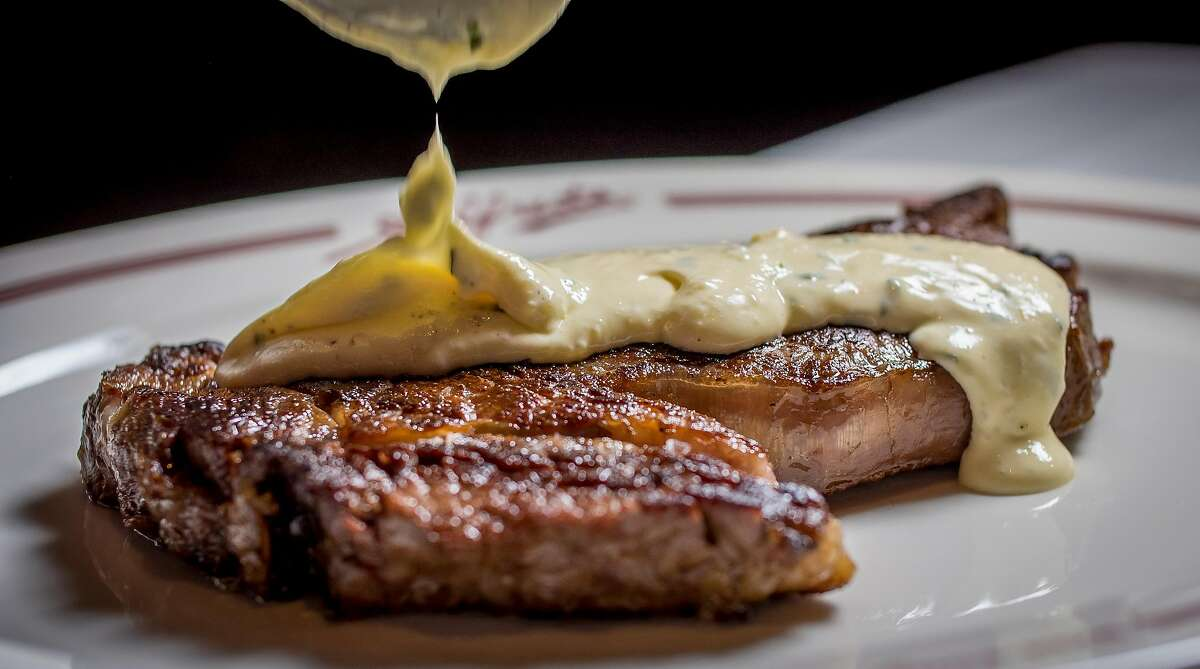 The Ribeye Steak with Brown Butter B�arnaise sauce at Alfred's Steakhouse in San Francisco, Calif., is seen on April 7th, 2016.