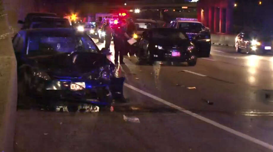 A woman involved in a minor accident early Saturday in central Houston has been seriously injured after leaving her car to talk to the other driver and getting struck by a vehicle. Photo: Metro Video Screen Shot