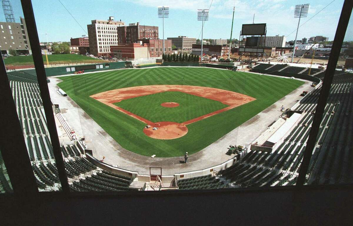 AutoZone Park, the new baseball stadium in Memphis, Tenn., is shown Tuesday, March 28, 2000. The $80 million, 14,200-seat stadium is the new home of the Class AAA Memphis Redbirds. It opens Saturday afternoon with an exhibition game between the Redbirds and their parent team, the St. Louis Cardinals. (AP Photo/The Commercial Appeal, Dave Darnell)