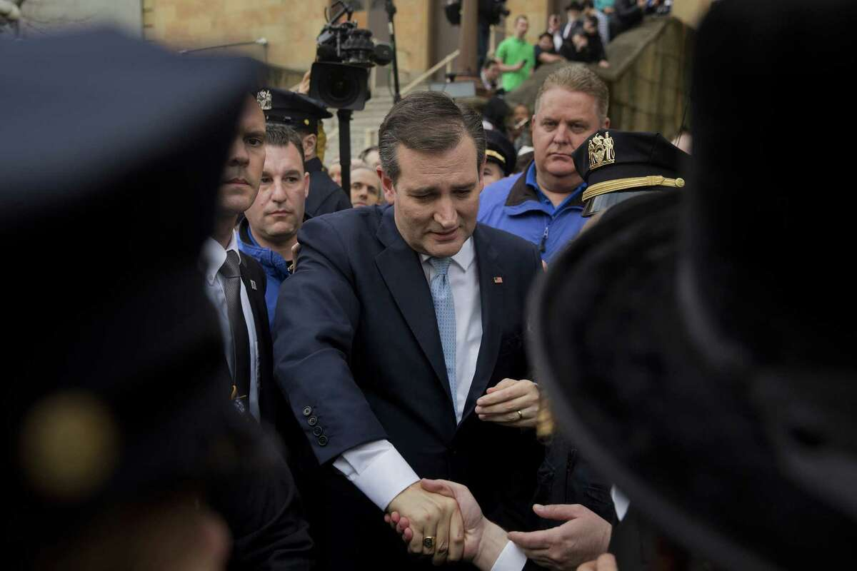 Senator Ted Cruz, a Republican from Texas and 2016 presidential candidate, greets voters at a campaign stop at the Jewish Center of Brighton Beach in the Brooklyn borough of New York, U.S., on Thursday, April 7, 2016. Fresh off a double-digit victory in Wisconsin, Cruz landed in Donald Trump's home state Wednesday to declare that the tide in the Republican primary had turned and that the billionaire front-runner knows it. Photographer: Victor J. Blue/Bloomberg *** Local Caption *** Ted Cruz
