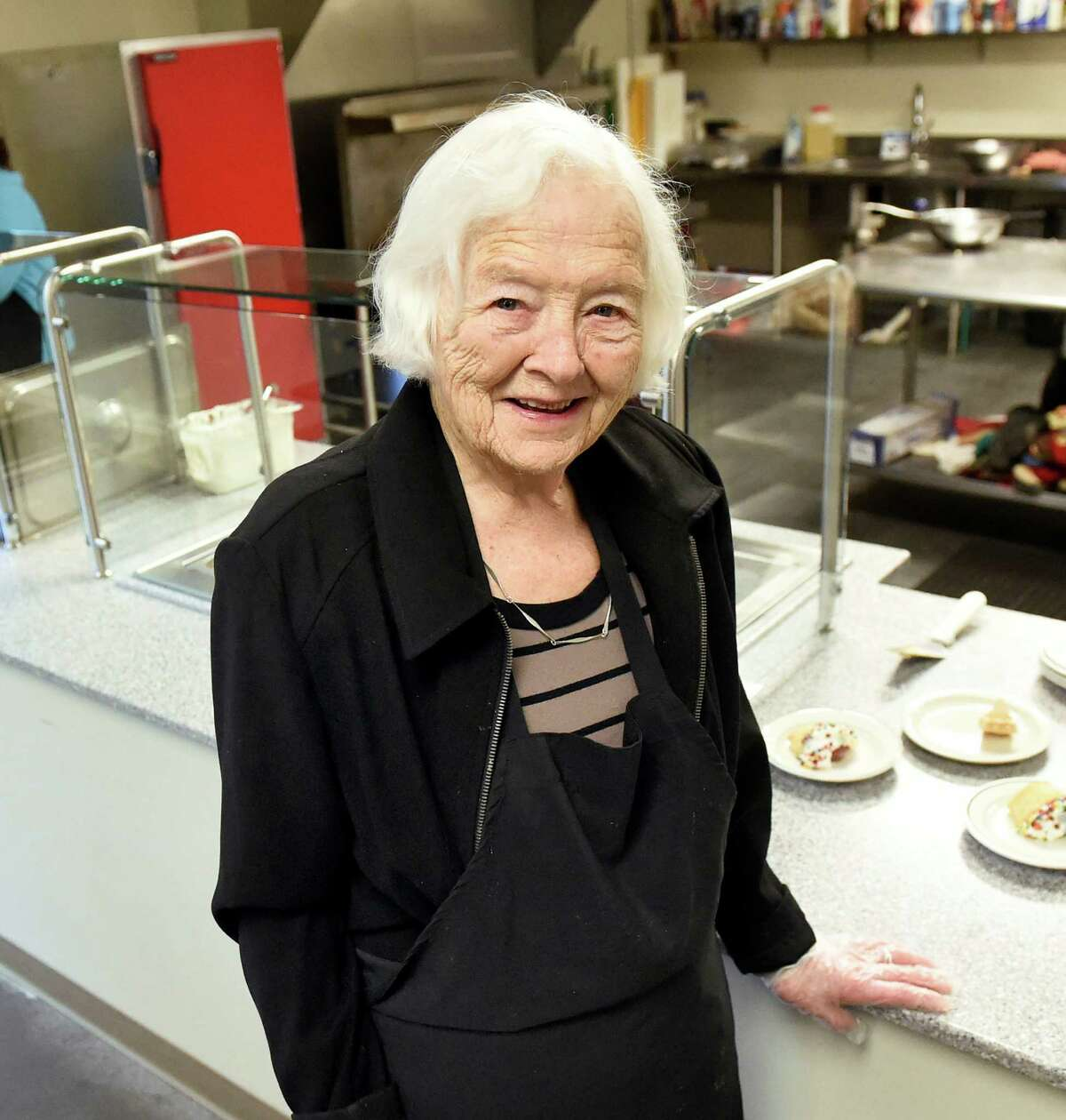 Jefferson award finalist Mary Jane Smith helps serve lunch on Wednesday, Feb. 3, 2016, at Unity House in Troy, N.Y. (Cindy Schultz / Times Union)