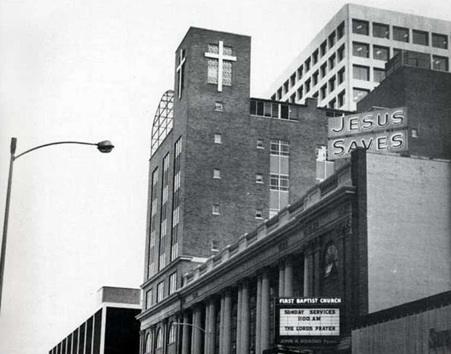 "First Baptist Church, located in downtown Houston, was known for the huge neon ""Jesus Saves"" sign featured on the roof of the church. The sign was a fixture in the downtown skyline in the 1960s. / handout"
