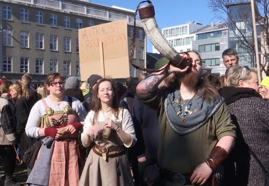 Anti-government demonstrators protest in front of Parliament on Saturday in Reykjavik, Iceland. Thousands of Icelanders have rallied to demand the removal of the entire government following last week's resignation of Prime Minister Sigmundur David Gunnlaugsson over his links to offshore investments. Photo: David Keyton, TEL / AP