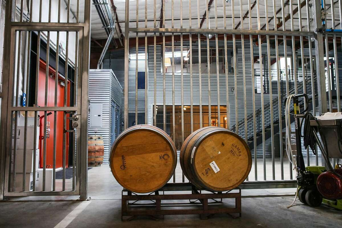 At Covenant Wines in Berkeley, seen in 2016, the cellar is separated from the office and tasting room by a large metal gate to keep kosher rules.