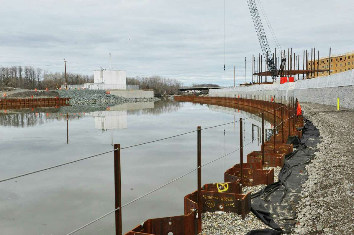 A view of the RPI research reactor, background left, at the Mohawk Harbor site on Tuesday, March 15, 2016, in Schenectady, N.Y. (Paul Buckowski / Times Union)