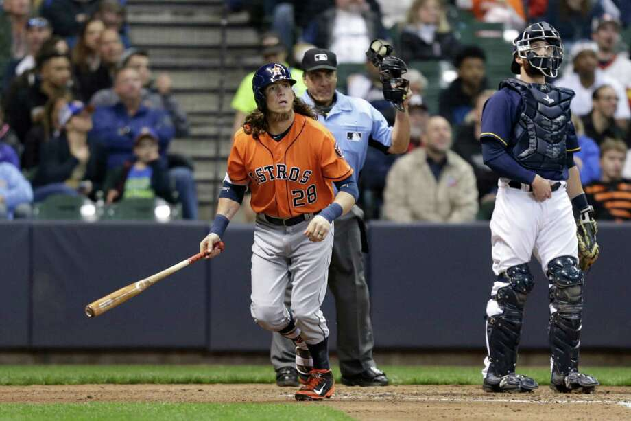 MILWAUKEE, WI - APRIL 09: Colby Rasmus #28 of the Houston Astros hits a two run homer in the fifth inning against the Milwaukee Brewers at Miller Park on April 09, 2016 in Milwaukee, Wisconsin. Photo: Mike McGinnis, Getty Images / 2016 Getty Images