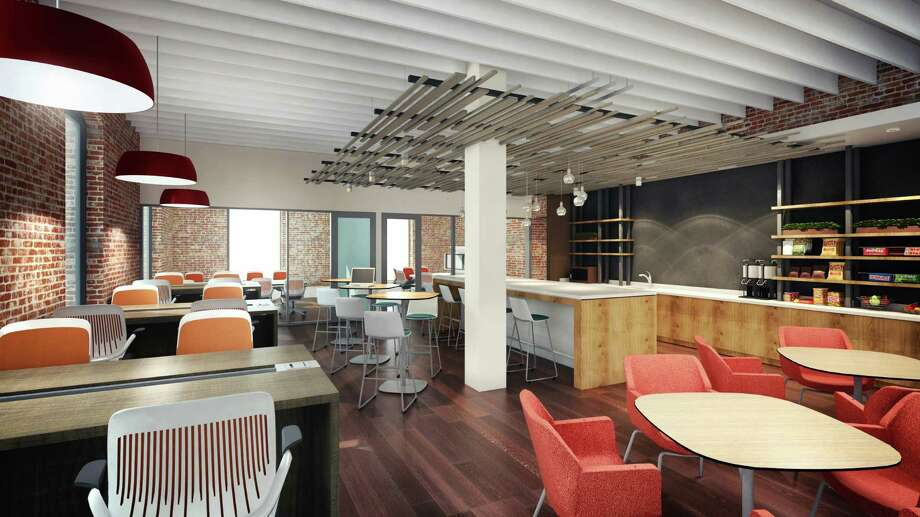 A rendering of the cafe planned for Serendipity Labs in Stamford, Conn., with the coworking space provider launched in Rye, N.Y. with plans to expand nationally.