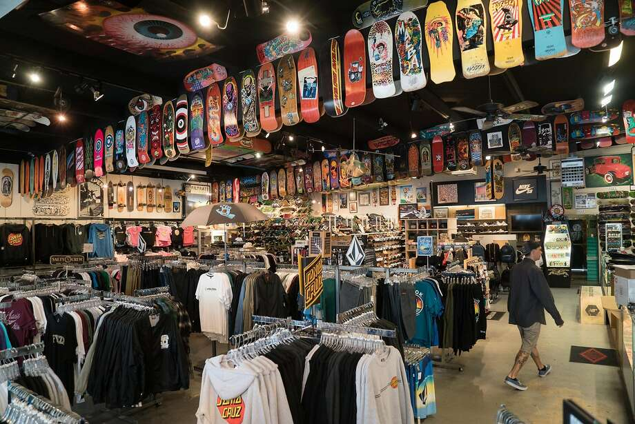 The Board Room features more than a thousand skateboards for sale in Santa Cruz, Calif. on Thursday, April 7, 2016. Vintage and rare skateboards also line the walls of the shop. Photo: James Tensuan, Special To The Chronicle