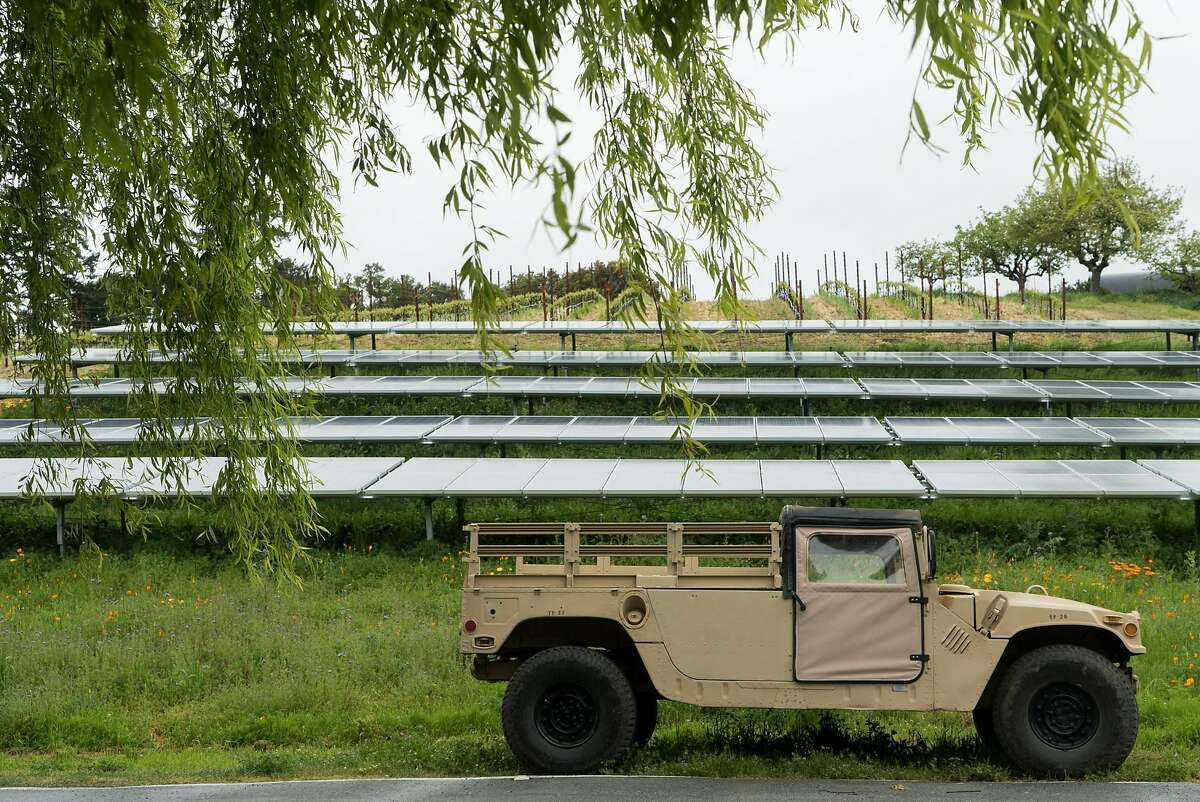 An old military vehicle is on display at Fogarty Winery in Woodside, Calif. on Friday, April 8, 2016. Fogarty Winery offers guests views of the valley.
