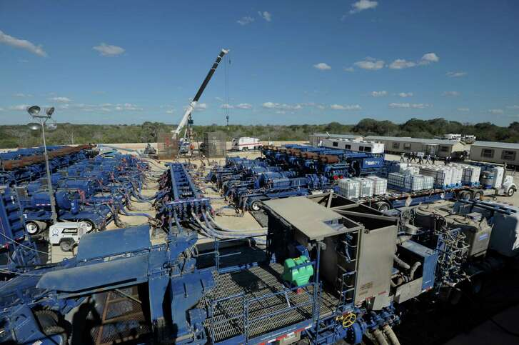 BHP Billiton said bids are already being evaluated for the sale of as much as 50,000 acres in the southern part of its Hawkville gas field in South Texas' Eagle Ford. Shown is a BHP Billiton frac spread in the Eagle Ford.