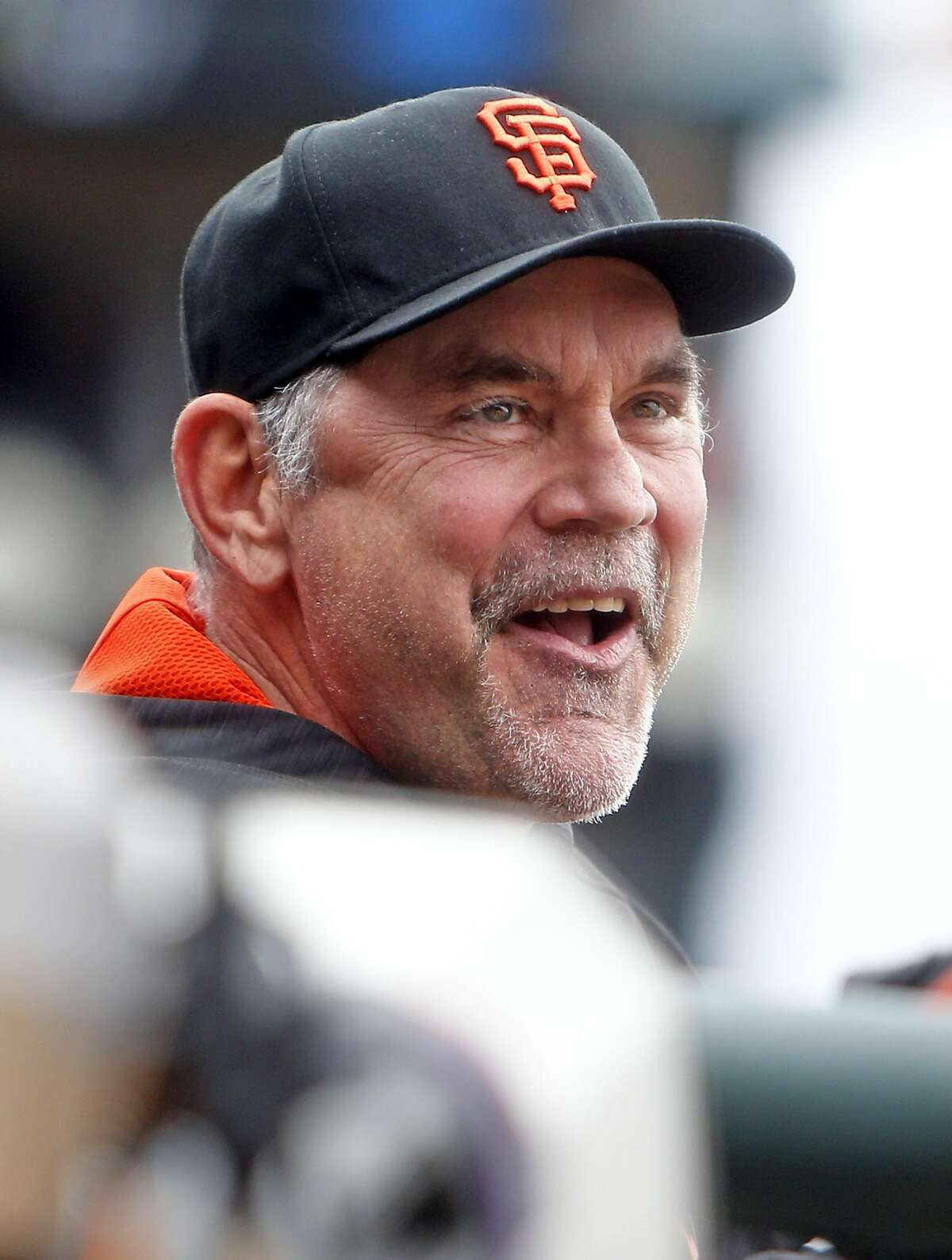 San Francisco Giants' Bruce Bochy reacts to Angel Pagan's 4th inning home run against Los Angeles Dodgers during MLB game at AT&T Park in San Francisco, Calif., on Sunday, April 10, 2016.