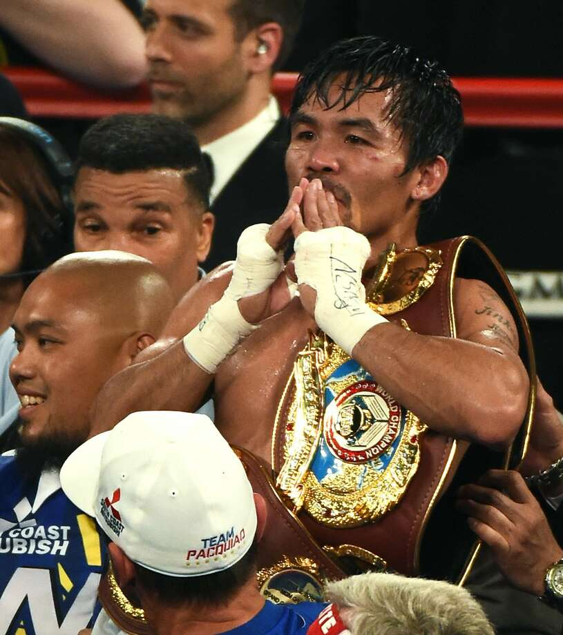 Manny Pacquiao celebrates his win over Timothy Bradley Jr. in Las Vegas. Photo: Ethan Miller, Getty Images