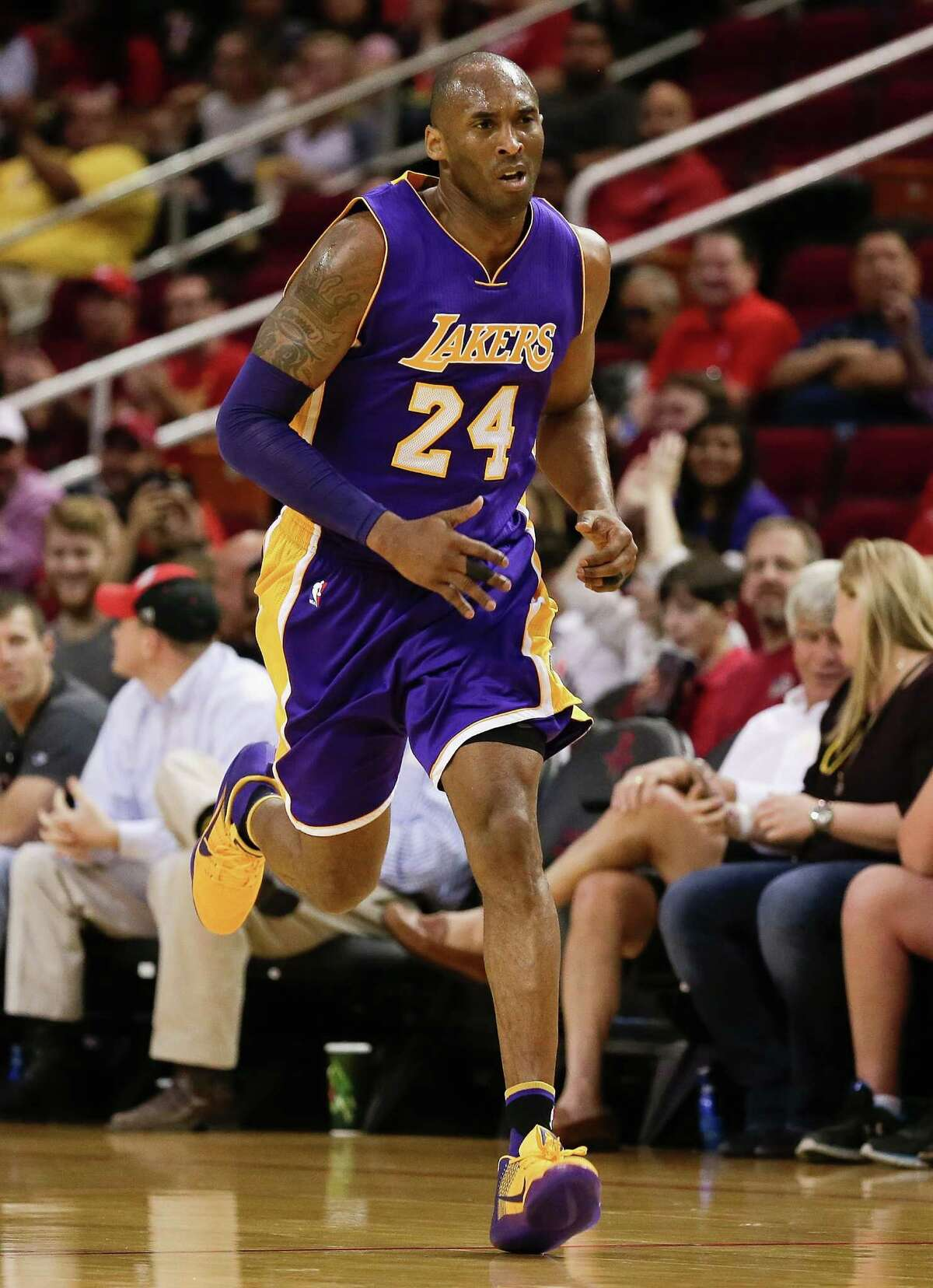 HOUSTON, TEXAS - APRIL 10: Kobe Bryant #24 of the Los Angeles Lakers runs the court against the Houston Rockets at Toyota Center on April 10, 2016 in Houston, Texas.