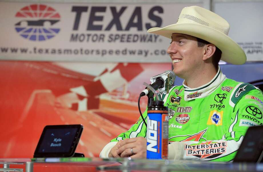 FORT WORTH, TEXAS - APRIL 09:  Kyle Busch, driver of the #18 Interstate Batteries Toyota, speaks to the media during a press conference after winning the NASCAR Sprint Cup Series Duck Commander 500 at Texas Motor Speedway on April 9, 2016 in Fort Worth, Texas.  (Photo by Tom Pennington/Getty Images) Photo: Tom Pennington, Getty Images