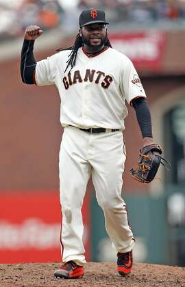 San Francisco Giants' starting pitcher Johnny Cueto reacts to the final out of the top of the 7th inning while playing Los Angeles Dodgers during MLB game at AT&T Park in San Francisco, Calif., on Sunday, April 10, 2016.