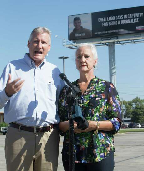 Marc and Debra Tice, parents of journalist Austin Tice, put up four billboards around town last fall to call attention to their son's capture in Syria. Photo: Cody Duty, Staff / Â 2015 Houston Chronicle