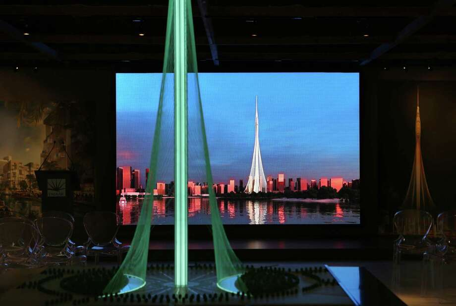 A model shows the cable-supported spire expected to open in Dubia, United Arab Emirates, by 2020. Photo: Kamran Jebreili / Associated Press / Copyright 2016 The Associated Press. All rights reserved. This material may not be published, broadcast, rewritten or redistribu