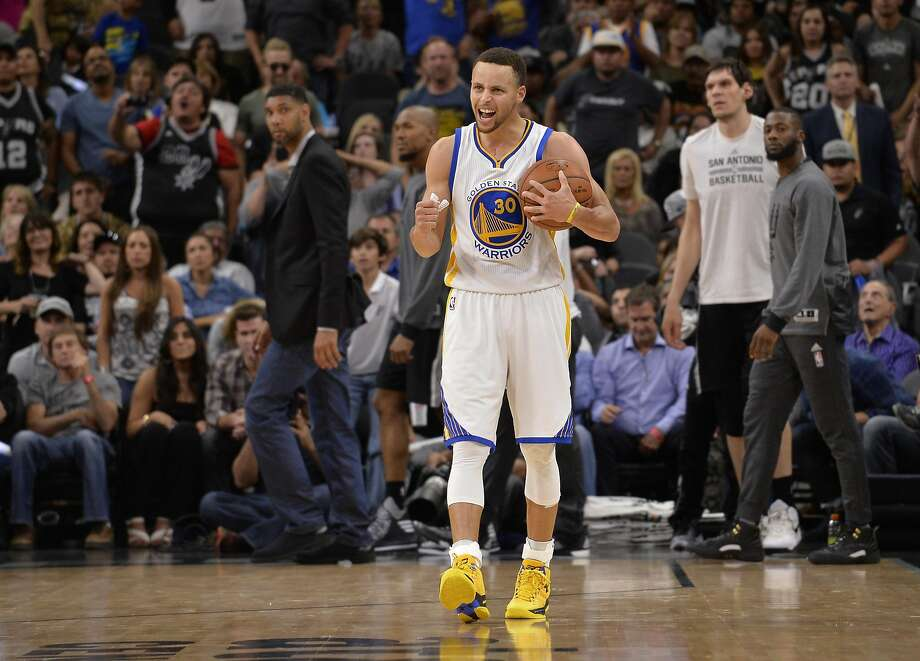 Golden State Warriors guard Stephen Curry celebrates the win after an NBA basketball game against the San Antonio Spurs, Sunday, April 10, 2016, in San Antonio. Golden State won 92-86. (AP Photo/Darren Abate) Photo: Darren Abate, AP