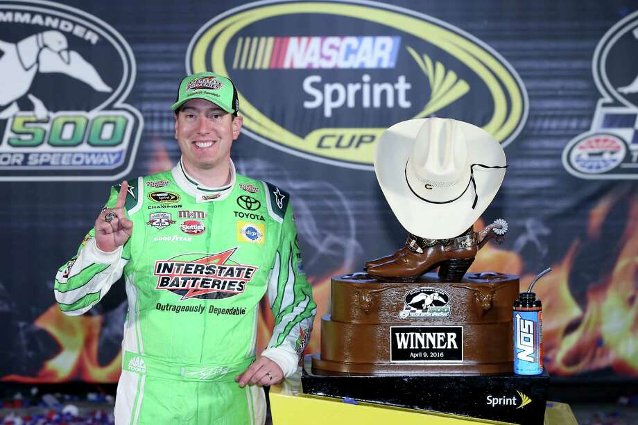 FORT WORTH, TEXAS - APRIL 09:  Kyle Busch, driver of the #18 Interstate Batteries Toyota, poses in Victory Lane after winning the NASCAR Sprint Cup Series Duck Commander 500 at Texas Motor Speedway on April 9, 2016 in Fort Worth, Texas.  (Photo by Sean Gardner/Getty Images) Photo: Sean Gardner, Stringer / 2016 Getty Images