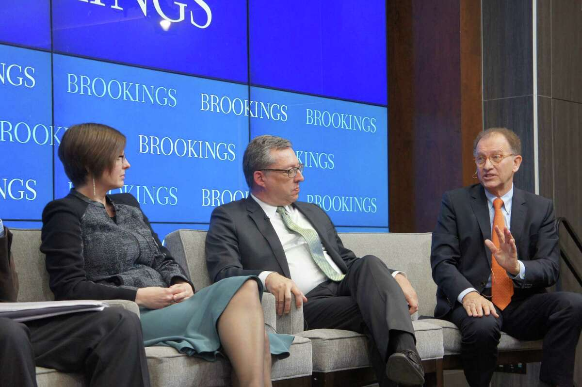 Brookings Institution panelists Rebecca Bagley and Bob Geolas discuss the emerging innovation trend with Antoine van Agtmael