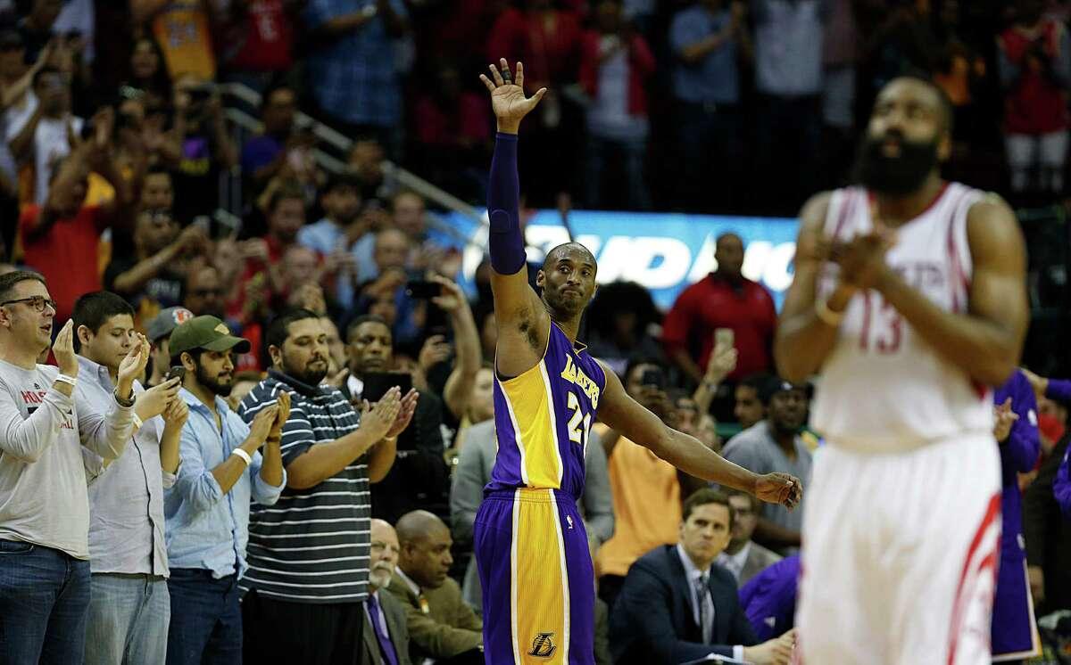 PHOTOS: Kobe Bryant's best games against the Rockets Los Angeles Lakers forward Kobe Bryant center, waves to the crowd as he leaves his final game in Houston as Houston Rockets guard James Harden applauds at the Toyota Center on Sunday, April 10, 2016. Browse through the photos at the top of the page for a look at Kobe Bryant's best games against the Rockets ...