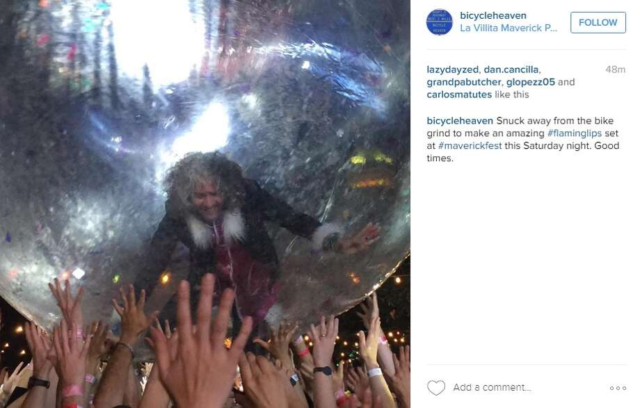 """Snuck away from the bike grind to make an amazing #flaminglips set at #maverickfest this Saturday night. Good times,"" @bicycleheaven.  Photo: Instagram.com"