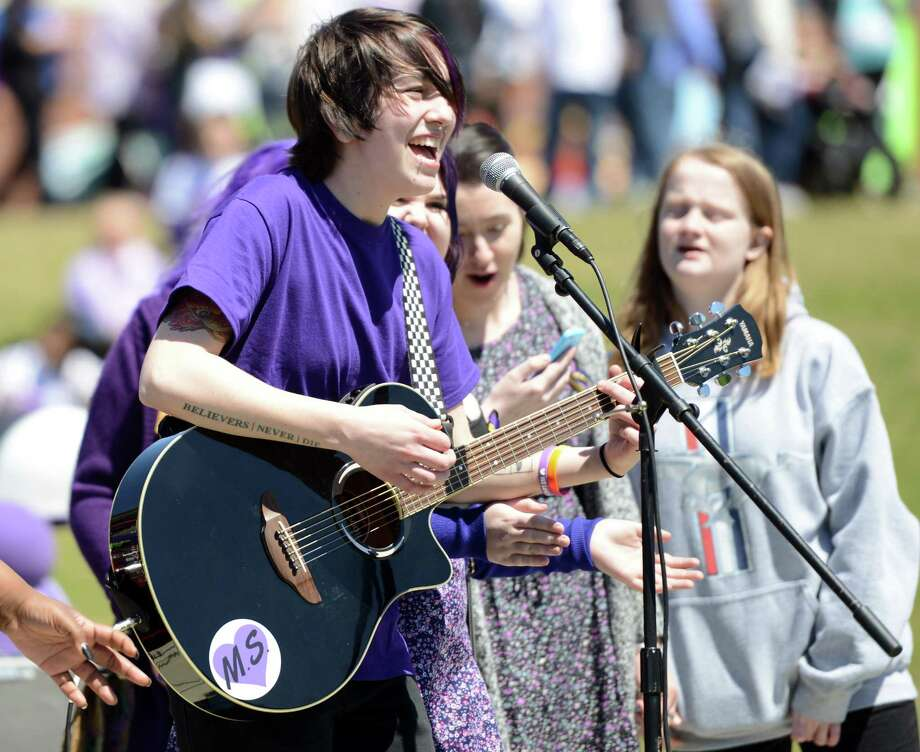 "A student performs during the first ""Peace Love & Music From Maren"" event at Jonathan Law High School in 2015. The second annual event celebrating the life of Maren Sanchez will be held at the school on April 30th. Photo: Autumn Driscoll / Autumn Driscoll / Connecticut Post"