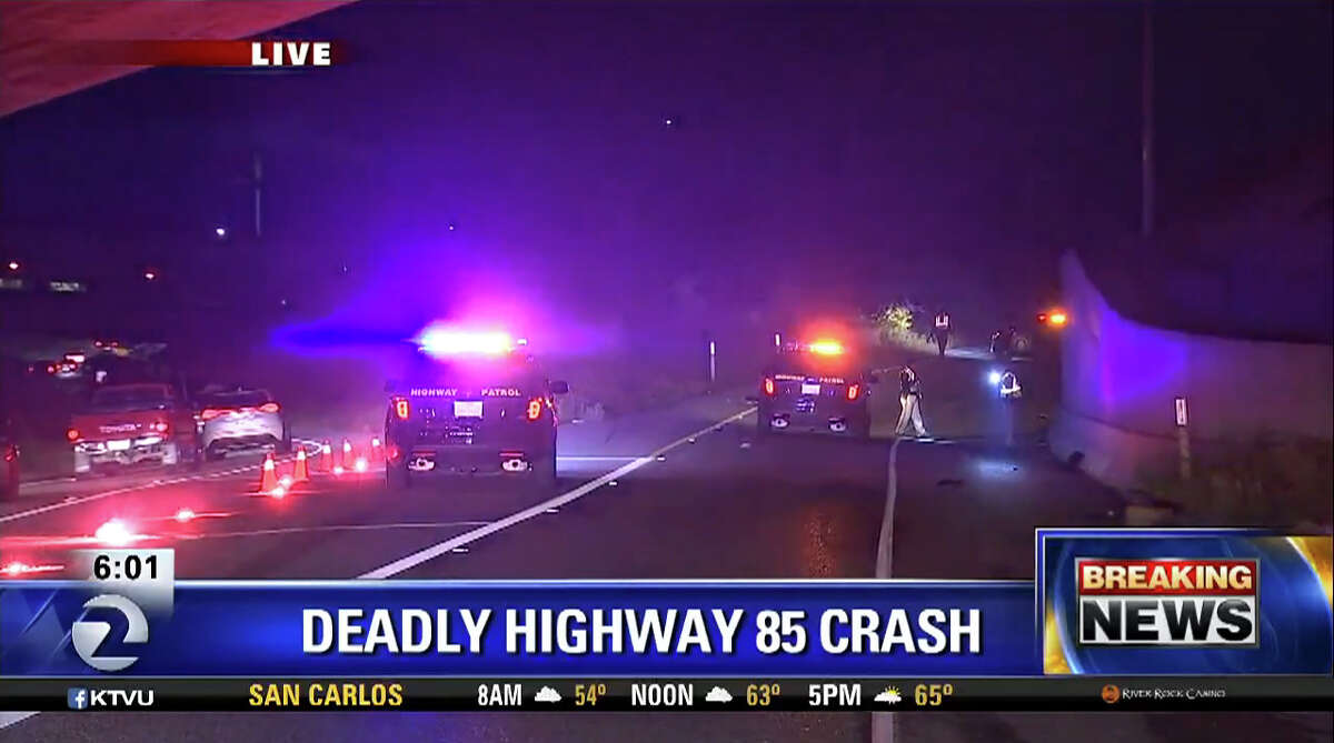 A pedestrian died after being struck by a car on a connector ramp between two South Bay freeways Monday morning.