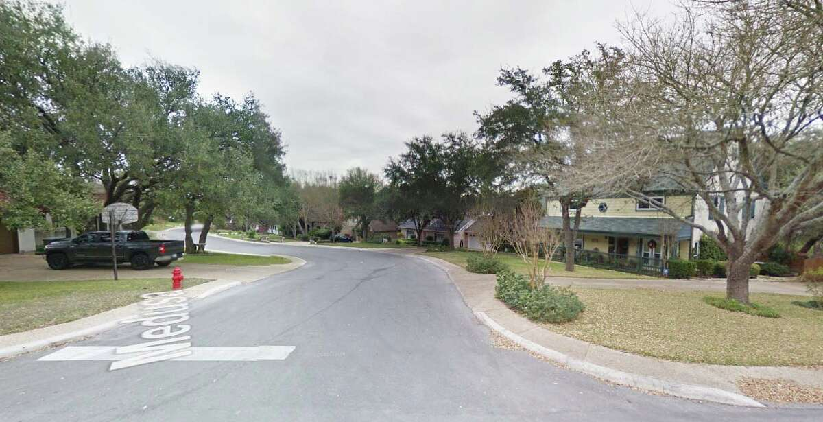 Street-level look at the 14000 block of Medusa in Selma, Texas.