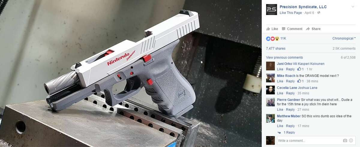 Precision Syndicate, a gun manufacturer in Odessa, customized a Glock for a friend to resemble a gun controller for the Nintendo Entertainment System gaming console.