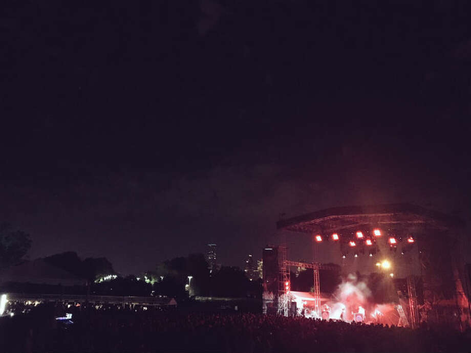 The brand-new White Oak Music Hall in the Near Northside neighborhood hosted its first outdoor concert with French indie-rockers M83 holding forth on the lawn, Saturday, April 9, 2016.