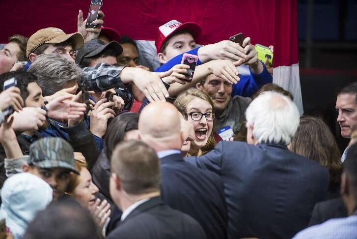 Supporters greet Sen. Bernie Sanders of Vermont, a Democratic presidential hopeful, after his speech at the Floyd L. Maines Veterans Memorial Arena in Binghamton, N.Y., April, 11, 2016. (Gabrielle Plucknette/The New York Times)