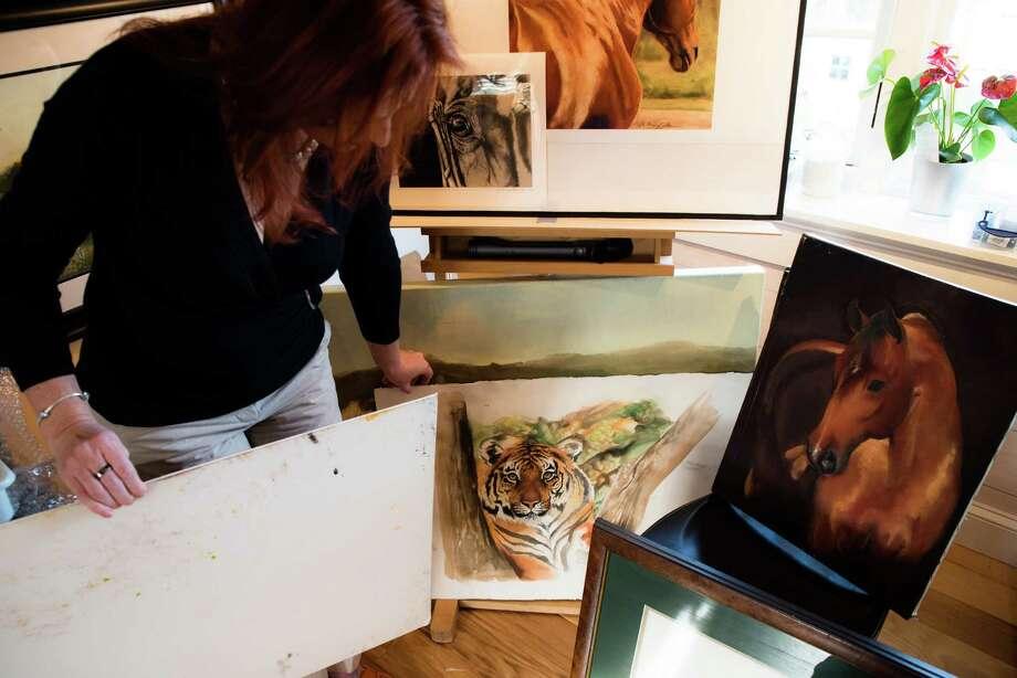 Whitney Kurlan in her Trumbull studio. Photo: Kyle Michael King / Hearst Connecticut Media / Kyle Michael King 2016