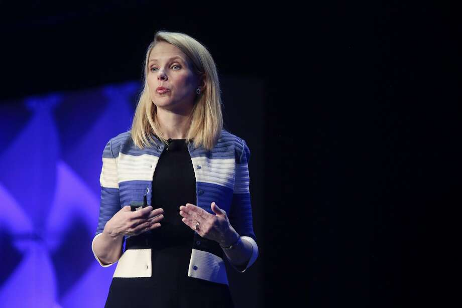 Marissa Mayer, chief executive of Yahoo, speaks at the Yahoo Mobile Developers Conference in San Francisco, Feb. 18, 2016. The Daily Mail, a British tabloid newspaper and website, confirmed on Monday that it had discussed with other investors a potential bid for assets of Yahoo. (Ramin Rahimian/The New York Times) Photo: RAMIN RAHIMIAN, NYT