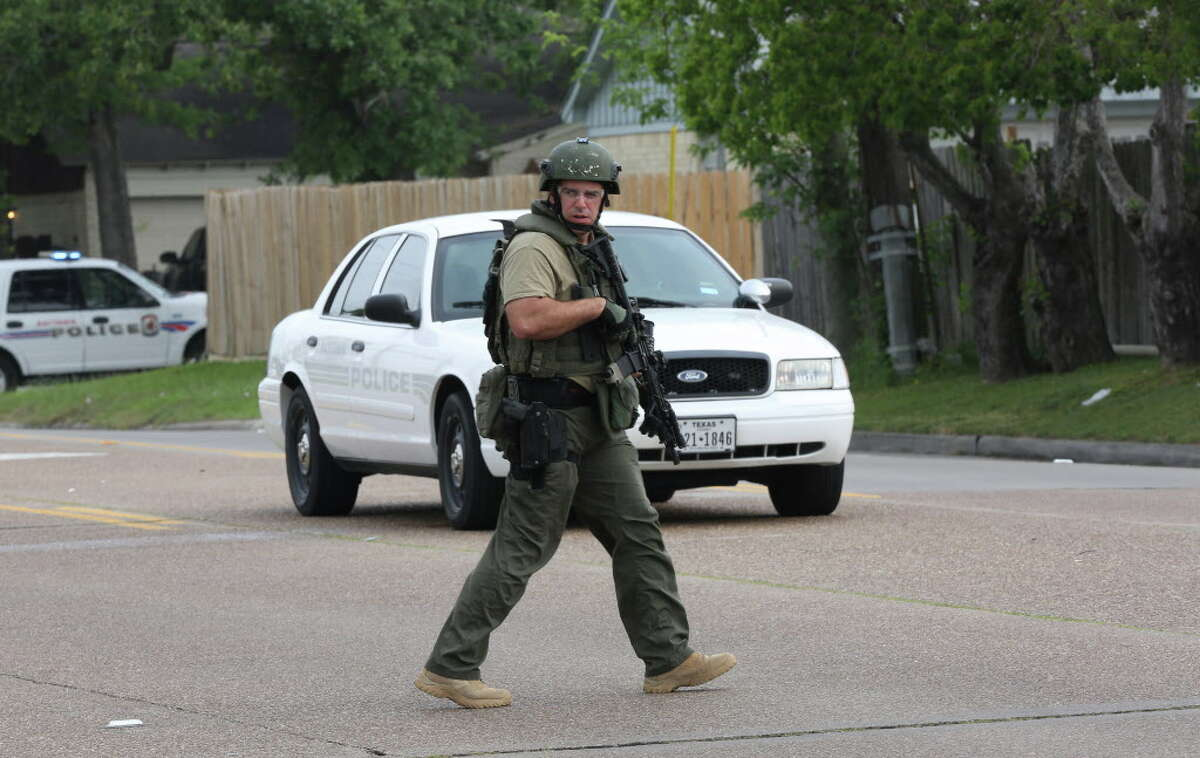 A SWAT officer is pictured Monday, April 11, 2016, in Baytown, Texas. Law enforcement officials said they are remaining vigilant in the wake of a report that Texas is a possible target for pre-election terror attack Keep going for an inside look at a terrorist training camp.