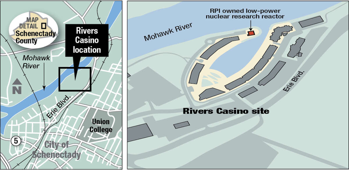 The maps show the location of the developing Rivers Casino site and a low-power nuclear reactor used by Rensselaer Polytechnic Institute for research.