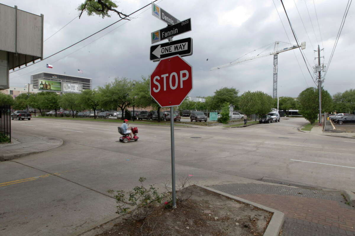 The corner of Dennis and Fannin where a double homicide happen Monday, April 11, 2016, in Houston's Midtown.