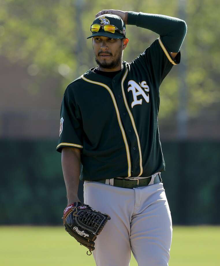 Oakland Athletics starting pitcher Felix Doubront watches during spring baseball practice in Mesa, Ariz., Thursday, Feb. 25, 2016. (AP Photo/Chris Carlson) Photo: Chris Carlson, Associated Press