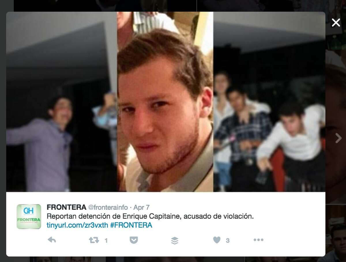 Enrique Capitaine is among the young men who were named as suspects in an alleged rape in Mexico, according to Mexican media. Twitter: FronteraInfo