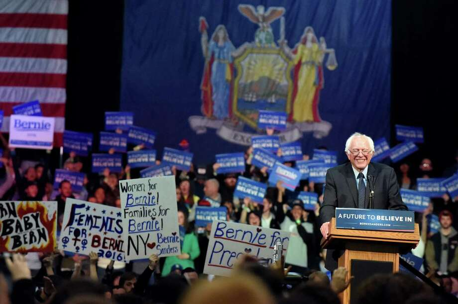 Democratic presidential candidate Bernie Sanders addresses his enthusiastic supporters on Monday, April 11, 2016, at the Washington Avenue Armory in Albany, N.Y. (Cindy Schultz / Times Union) Photo: Cindy Schultz / Albany Times Union