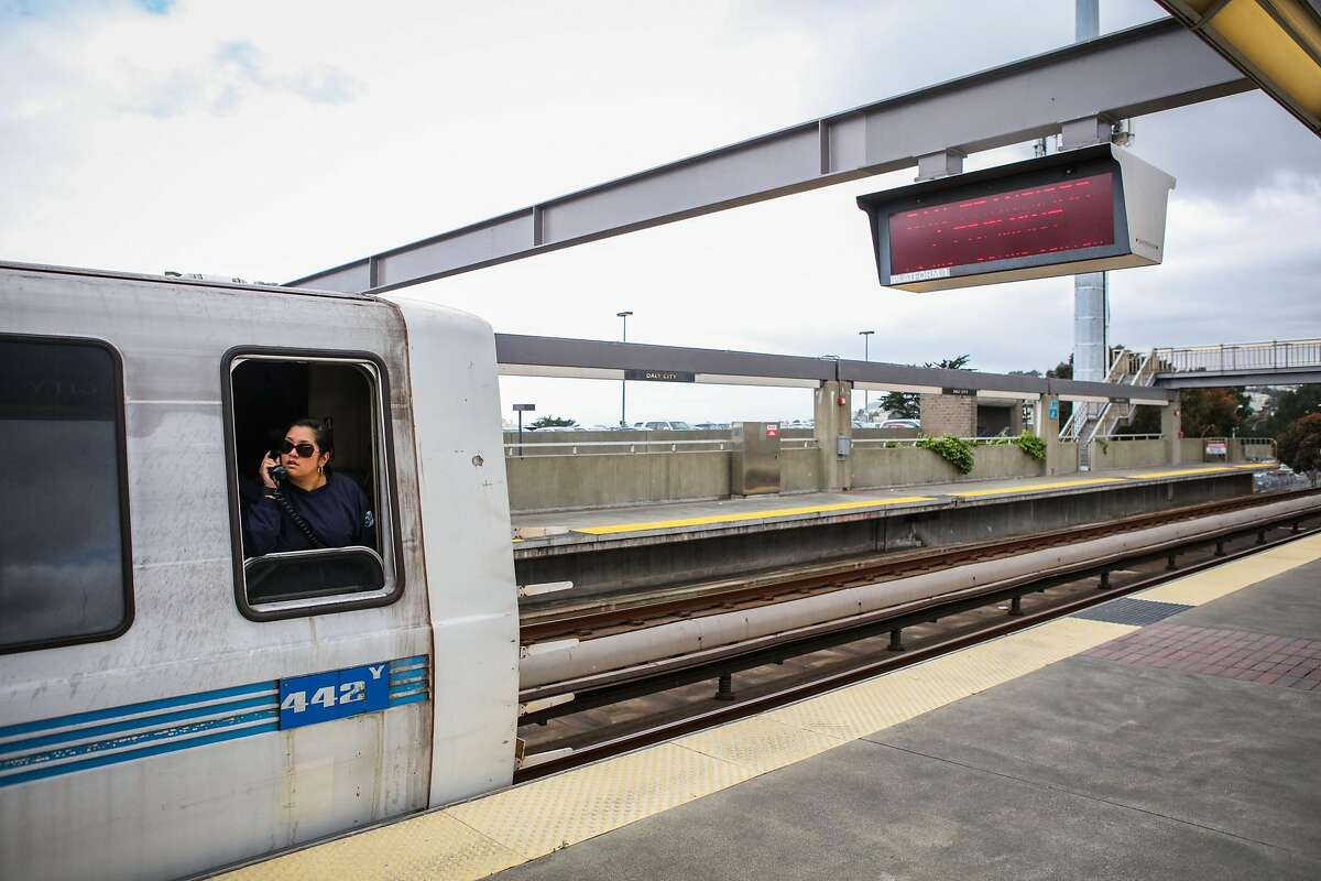 A BART conductor makes an announcement before leaving the Daly City station, in Daly City, California, on Monday, April 11, 2016.