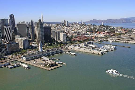 An aerial photograph of the Ferry Building and South of Market Street in San Francisco taken on October 13, 2008.
