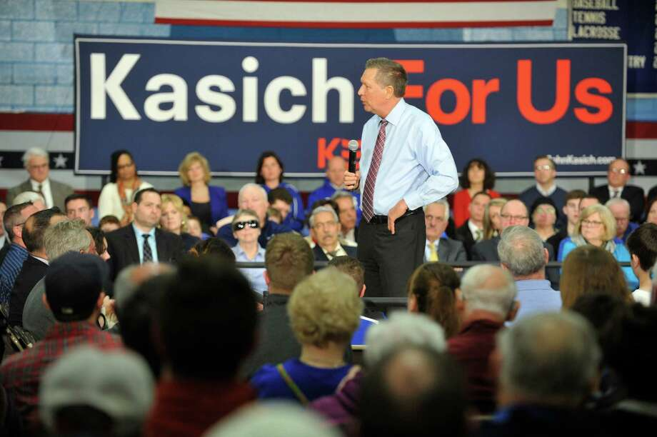 Republican presidential candidate Governor John Kasich talks to Capital Region residents during a town hall meeting at LaSalle Institute on Monday, April 11, 2016, in Troy, N.Y.  (Paul Buckowski / Times Union) Photo: PAUL BUCKOWSKI / 10036127A