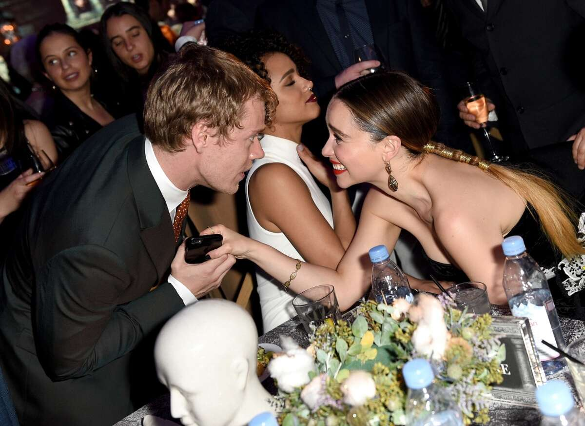 Actors Alfie Allen (left) and Emilia Clarke attend the after-party at the premiere for the sixth season of HBO's