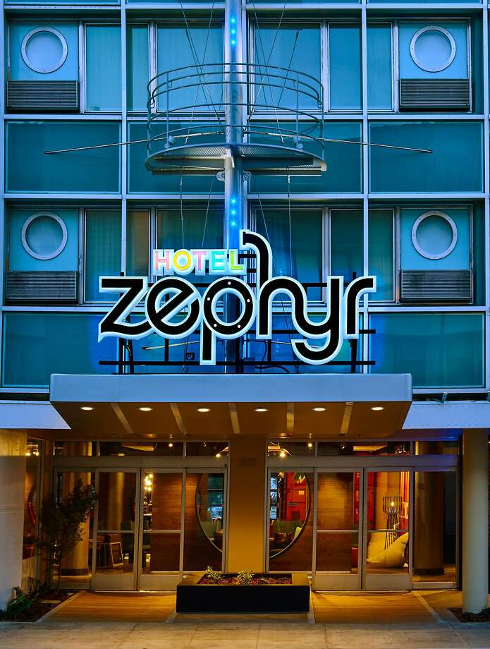 The exterior of the new Hotel Zephyr on Fisherman's Wharf hints at its playful interior. Photo: Hotel Zephyr
