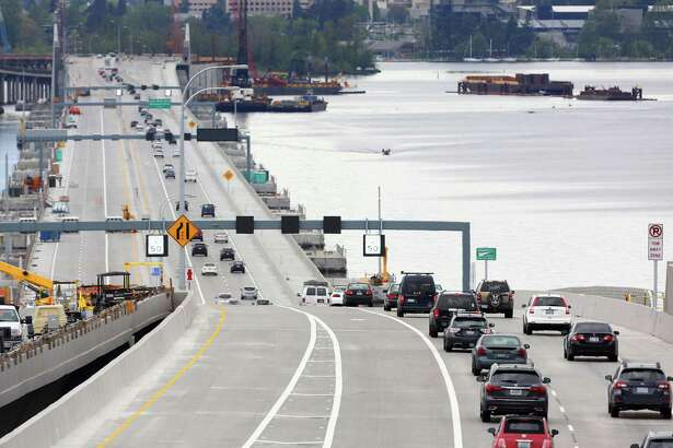 Traffic opened westbound on the new 520 bridge Monday, April 11, 2016.