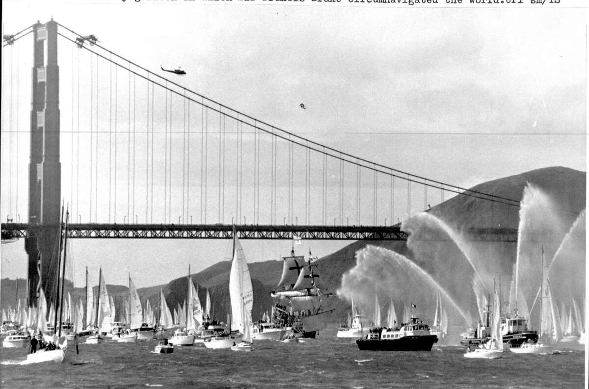 The Golden Hinde II sails near the Golden Gate Bridge as it arrives in San Francisco Bay photo ran 03/16/1975, P. 5 (This World) UPI photo