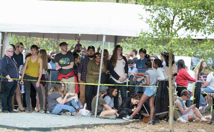 Fans wait to get in at a sold-out concert at the 6-acre property. The venue's developer called the show a success.